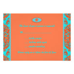 Orange and Turquoise Damask Custom Announcements