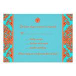 Orange and Turquoise Damask Custom Invites