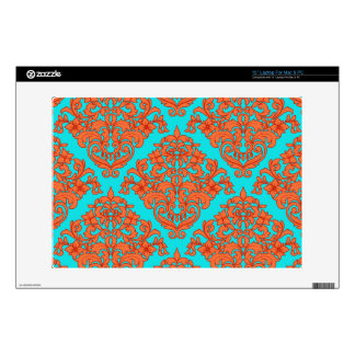 "Orange and Turquoise Damask 13"" Laptop Decals"