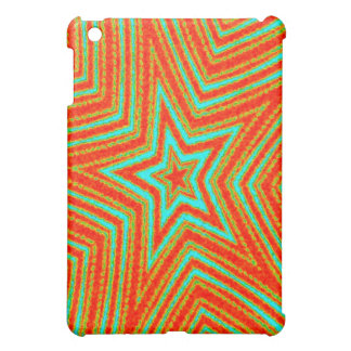 Orange and Turquoise Stars Cover For The iPad Mini