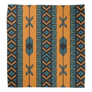 Orange And Turquoise Tribal Aztec Pattern Bandanna