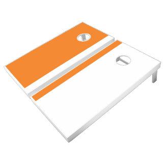 Orange and White Add Your Logo Cornhole Set