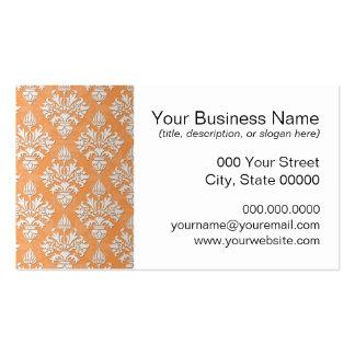 Orange and White Artichoke Damask Floral Pattern Business Card