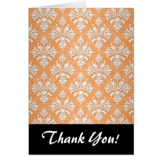 Orange and White Artichoke Damask Floral Pattern Card