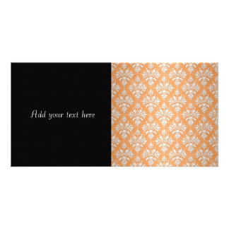 Orange and White Artichoke Damask Floral Pattern Card
