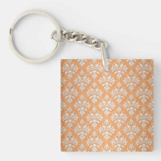 Orange and White Artichoke Damask Floral Pattern Keychain