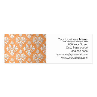Orange and White Artichoke Damask Floral Pattern Mini Business Card