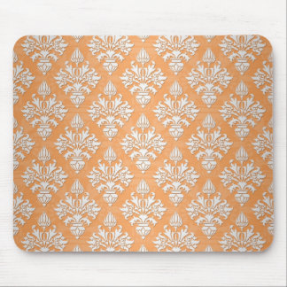 Orange and White Artichoke Damask Floral Pattern Mouse Pad