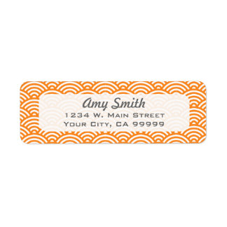 Orange and White Asian Pattern Label