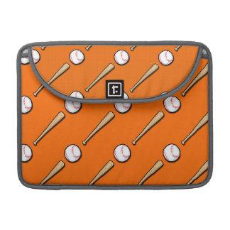 Orange and White Baseball Pattern MacBook Pro Sleeve