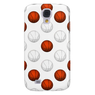 Orange and White Basketball Pattern Galaxy S4 Cover