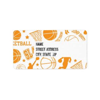 Orange and White Basketball Pattern Custom Address Label