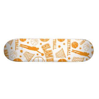 Orange and White Basketball Pattern Skate Board Decks