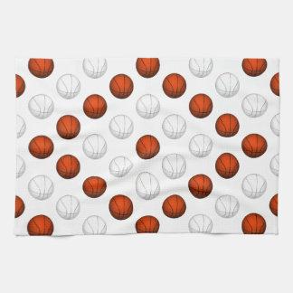 Orange and White Basketball Pattern Towel