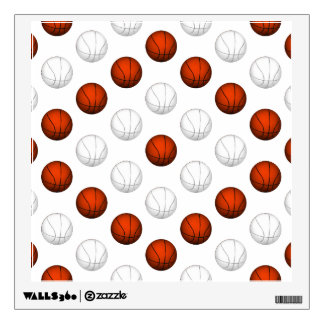 Orange and White Basketball Pattern Wall Decal