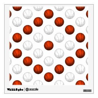 Orange and White Basketball Pattern Wall Skin
