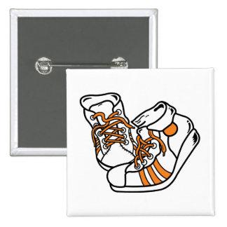 orange and white basketball sneakers graphic 2 inch square button