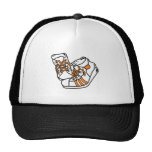 orange and white basketball sneakers graphic trucker hats