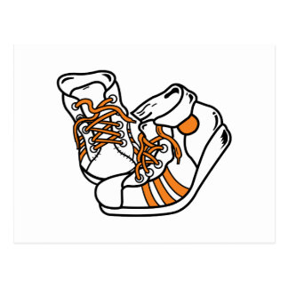 orange and white basketball sneakers graphic postcard