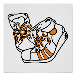 orange and white basketball sneakers graphic print