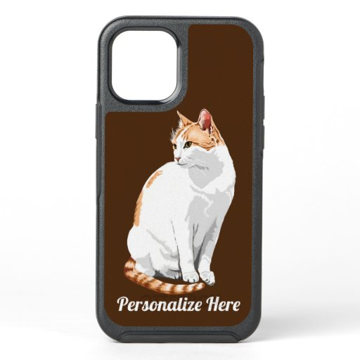 Orange and White Bicolored Cat Personalized OtterBox Symmetry iPhone 12 Case