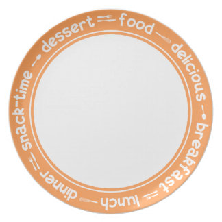Orange and white Breakfast Lunch Dinner text plate