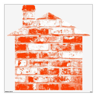 Orange and White Brick House Wall Decal
