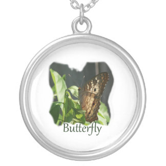 Orange and White Butterfly with text Photograph Round Pendant Necklace