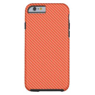 Orange and White Carbon Fiber Pattern Base Tough iPhone 6 Case
