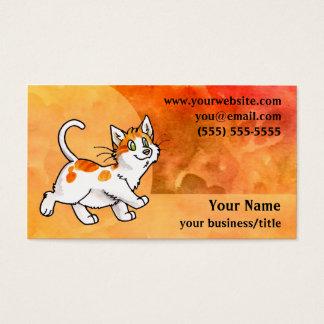 Orange and White Cat Business Card -Fiery Orange