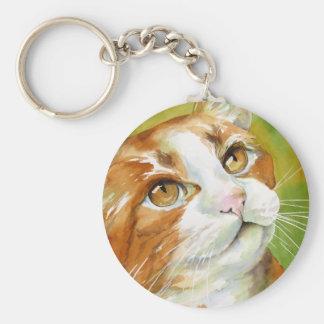 Orange and White Cat Keychain