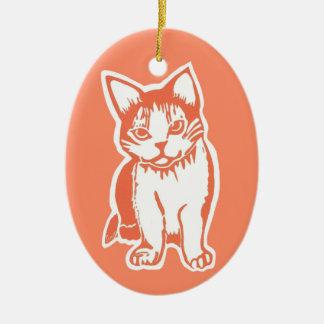 Orange and White Cat Oval Ornament