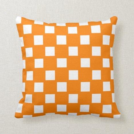 Orange and White Checked Throw Pillow