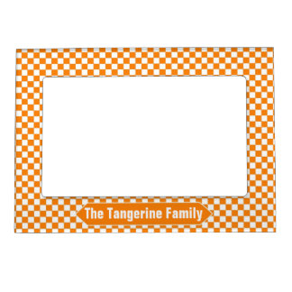Orange and White Checkered Custom Photo Magnetic Picture Frame
