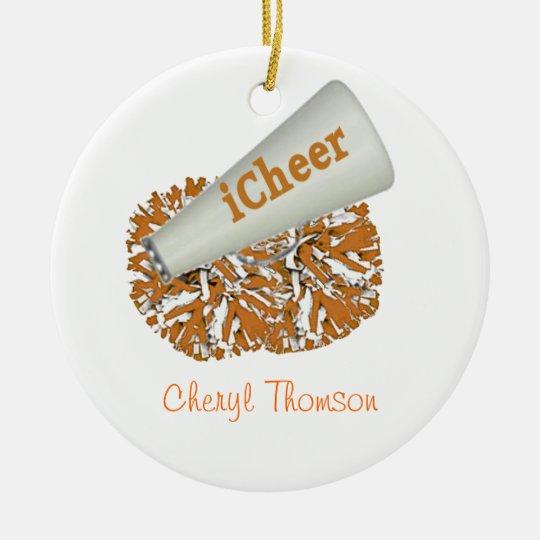Orange and White Cheerleader ornament