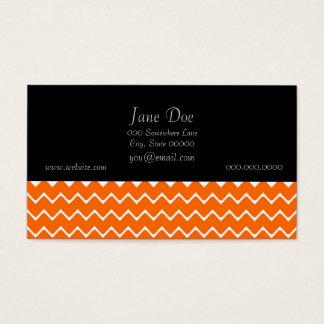 Orange and White Chevron Pattern Business Card