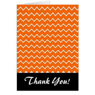 Orange and White Chevron Pattern Card