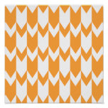 Orange and White Chevron Pattern. Poster