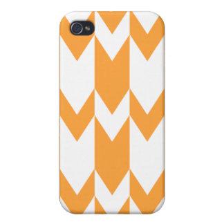 Orange and White Chevron Pern. Cases For iPhone 4