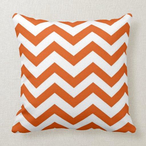 Throw Pillows Leather : Orange and White Chevron Throw Pillow Zazzle