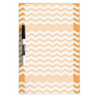 Orange and White Chevron Stripe Dry Erase Board