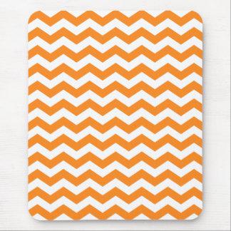 Orange and White Chevron Stripes Mouse Pad