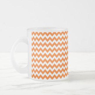 Orange and White Chevron Zigzag Pattern Frosted Glass Coffee Mug