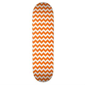 Orange and White Chevron Zigzag Pattern Skateboard