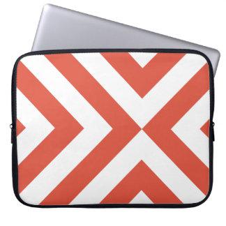 Orange and White Chevrons Laptop Computer Sleeve