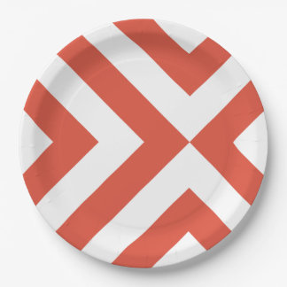 Orange and White Chevrons Paper Plate