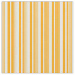 [ Thumbnail: Orange and White Colored Lined/Striped Pattern Fabric ]