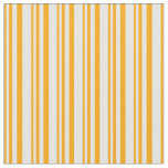 [ Thumbnail: Orange and White Colored Striped Pattern Fabric ]