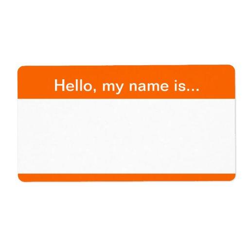 Orange And White Corporate Name Tag Avery Label Zazzle