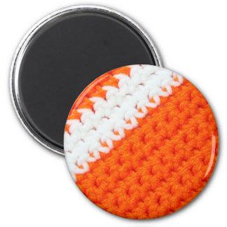 Orange and White Crochet 2 Inch Round Magnet